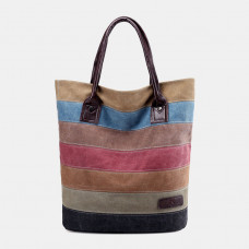Women Vinatge Multi-color Stripe Large Capacity Canvas Handbag Shoulder Bag