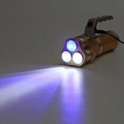 White+Blue LED 500M 3Modes Rechargeable LED Flashlight 18650 Flashlight Flashlight Searching Light Searchlight Lamp