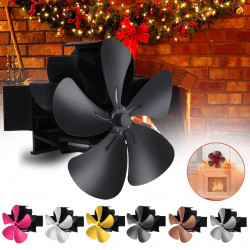 5 Blade Wall Mounted Stove Fan Fireplace Fan Winter Warm Heater Powered Fan 7.1inch 1500RPM Wood Burner