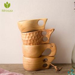 Hot Chinese Portable Wood Coffee Mug Rubber Wooden Tea Milk Cup Water Drinking Mugs Drinkware Handmade Juice Lemon Teacup Gift