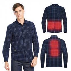 TENGOO USB Electric Charging Heating Plaid Shirt Plus Velvet Long Sleeve T-shirts