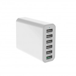 Stiger 60W QC3.0 6-Port/4-Port Power3S Smart USB Charger EU Plug for iPhone 11 Pro Max for Samsung S10+ Xiaomi Redmi K30 LG