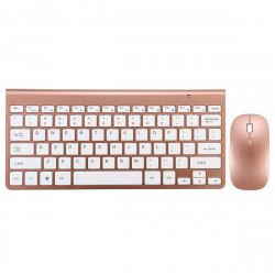 Ultra Thin 2.4GHz Wireless Keyboard and 1200DPI Wireless Ultra Thin Mouse Combo Set with USB Receiver for PC Computer - Light red