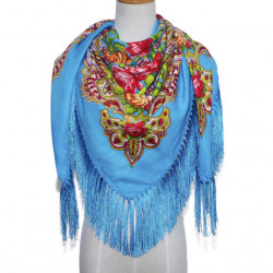 Fringed Scarf National Wind Shawl Female Retro Printed Flower Square Scarf