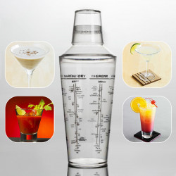 700ML Professional Transparent Plastic Margarita Drink Shaker Mixer Party Cocktail Shaker Bartending Tools Supplies Bartender Drink Mixer