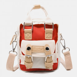 Women Colorblock Nylon Waterproof Crossbody Bag Mini Shoulder Bag
