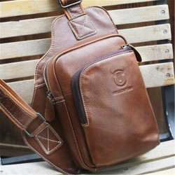 Men's Genuine Leather Sling Bag Travel Chest Shoulder Messenger Business Tote