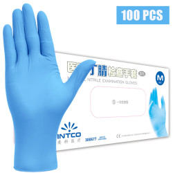 100 Pcs Disposable Blue Nitrile PVC Gloves Prevent Infection Dishwashing Kitchen Cut-Proof Gloves Cleaning Protective Gloves