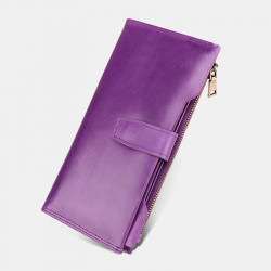 Genuine Leather RFID Blocking Anti-Theft Long Wallet Card Holder Clutches Bag