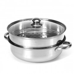2 Tier Stainless Steel Steamer Induction Compatible Cookware Pot Kitchen Tool