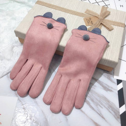 Women's Glove Winter Touch Screen Gloves Plus Velvet Thick Warm Cat Pattern Gloves Five Fingers Point To Drive Gloves