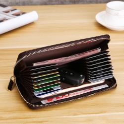 Men Faux Leather Multi-Pocket Phone Bag Thin Zipper Wallet