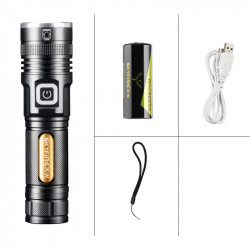 Skyfire P80 30W 800m 5 Modes + Promise Dimming Type-C Rechargeable Waterproof Zoomable Flashlight Built In 26650 Battery