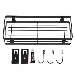 Kitchen Bathroom Rack Hanging Basket Black Stainless Steel Paint Storage Shelf Kitchen Storage Rack