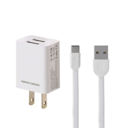Remax 2.4A Dual USB Fast Charging USB Charger Adapter with Type C Micro USB Data Cable For Huawei P30 Pro Mate 30 5G Xiaomi 9Pro S10+ Note 10 5G-US Plug
