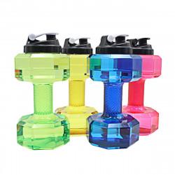 2.2L Unisex Sports Water Bottles Leakproof Unbreakable Plastic Bottle Shaker Yoga Fitness Dumbbell Kettle