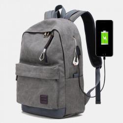 Men Vinatge Canvas Backpack Portable Charging External USB Computer Bag Travel Backpack
