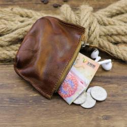 Men Genuine Leather Vinatge Coin Bag Wallet