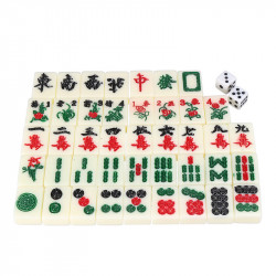 Chinese Mahjong Portable Retro Box Board Game Toy Rare 144 Tiles Mah-Jong Set In Leather Box