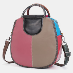 Women Circle Genuine Leather Bag Patchwork Crossbody Bag Handbag Shoulder Bag