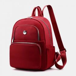 Women Large Capacity Pure Color Backpack Shoulder Bag