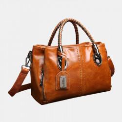 Women Vintage Handbag Oil Wax Leather Three-layer Crosssbody Bag