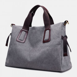 Women Pure Color Large Capacity Casual Canvas Shoulder Bag Handbag