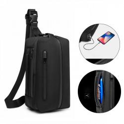 OZUKO Men's Oxford Student Outdoor Sports Casual Crossbody Bag Travel USB Waterproof Bag Shoulder Sling Bag Chest Bag