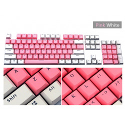 104 Keys Pink White Light Transmission PBT Keycap Set KeyCaps for Mechanical Gaming Keyboard