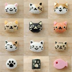 Sushi Mould Set Rice Mold Cute Smile Cat Bento Maker Nori Decor Cake Cutter Cheese Ham Sandwich DIY Kitchen Gadgets Tool