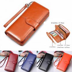 Vintage Women Men Leather Long Wallet Card Holder Clutch Purse Handbag Phone