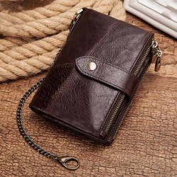 Men Gneuine Leather Vinatge RFID Blocking Anti-theft Chain Wallet Card Holder