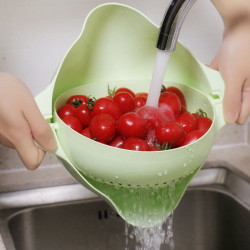Kitchen Double Drain Basket 360 Rotation Fruit Vegetable Bowl Noodles Rice Washing Strainer Home Pool Drainer Organizer