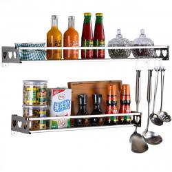 Kitchen Hanging Pot Pan Rack Wall Mount Storage Shelf Saucepan Holder