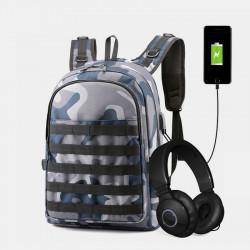 Men Large Capcity Camouflage Backpack Computer Shoulder Schoolbag With USB Charging Port