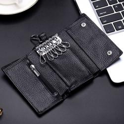 Men Genuine Leather Key Bag Zipper Coin Bag Wallet