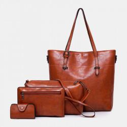Women 4Pcs Solid Vintage Handbag Crossbody Bag