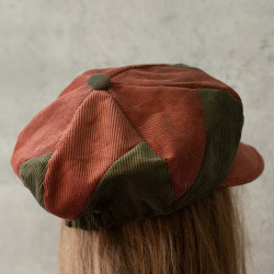 Corduroy Patchwork Newsboy Hat In Brown And Army Green Retro Hat Beret Cap