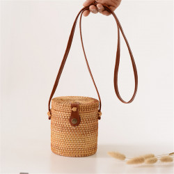 Women Girls Rattan Straw Bucket Shoulder Hand Woven Bag Tote Summer Beach