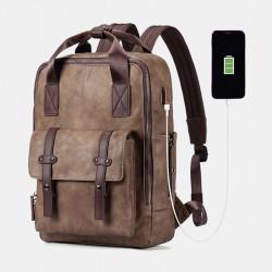 Men Multifunction USB Charging Bag Solid Large Capacity Backpack