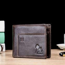 Men Genuine Leather Vinatge RFID Blocking Wallet