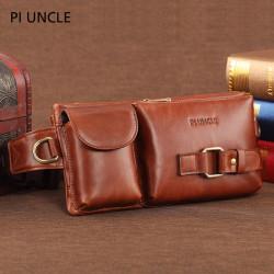 Men Genuine Leather Multifunctional Waist Bag Shoulder Bag Crossbody Bag