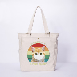 Women Cartoon Cat Mask Printed Canvas Shoulder Bag Handbag