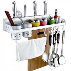 Multifunction Kitchen Pan Storage Rack Organizer Holder Hooks Spice Shelf