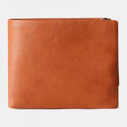 Men Genuine Leather Vinatge RFID Blocking Anti-Theft Wallet Card Holder Zipper Coin Bag