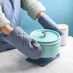 2PCS Waterproof Mitten Kitchen Cooking Microwave Oven Mitt Insulated Non-slip Glove Thickening Striped Cotton Glove