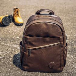 Men Vintage Large Capacity Backpack With Headphone Port