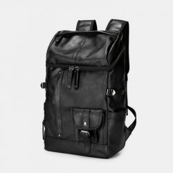 Men Large Capacity Faux Leather Backpack For Outdoor Travel School Bag