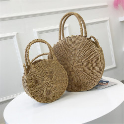 Bohemia Rattan Straw Bag Women Straw Handbag Round Beach 110cm Length Polyester