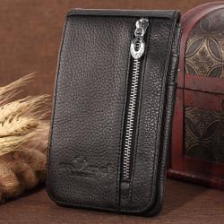 Men Genuine Leather Multifunctional Long Zipper Wallet Card Holder Waist Bag
